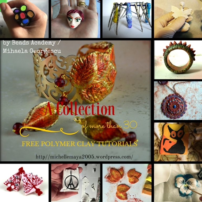 Free polymer clay tutorials by Beads Academy / Mihaela Georgescu