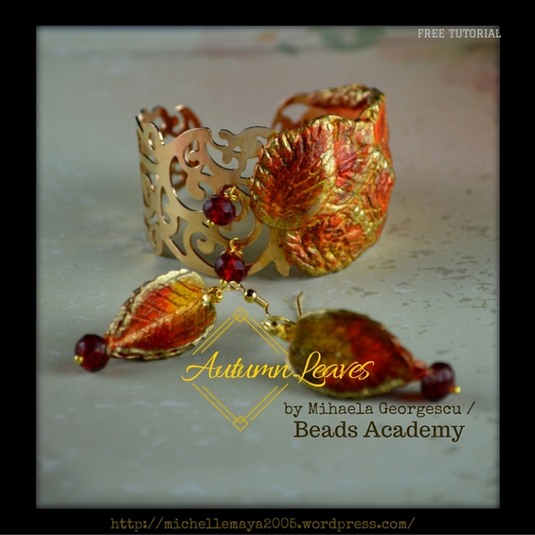 Free Polymer clay tutorial by Mihaela Georgescu @ Beads Academy / Inspired by Autumn Leaves / Playing with pastel chalks, alcohols inks and crystal beads