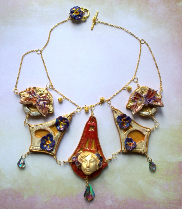 Fairy tale - Polymer clay necklace with Pebeo Paints by Beads Academy / Mihaela Georgescu