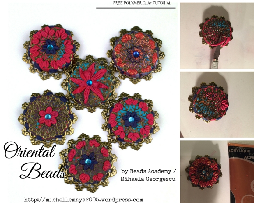 Free polymer clay tutorial by Beads Academy/ Mihaela Georgescu https://michellemaya2005.wordpress.com/
