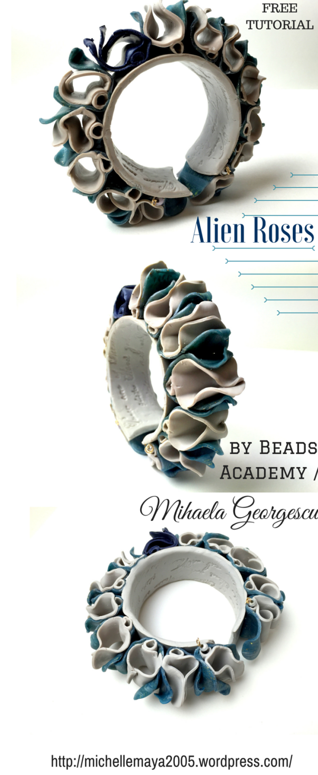 Alien Roses - Free polymer clay tutorial by Beads Academy / Mihaela Georgescu. More inspiration on: https://michellemaya2005.wordpress.com/