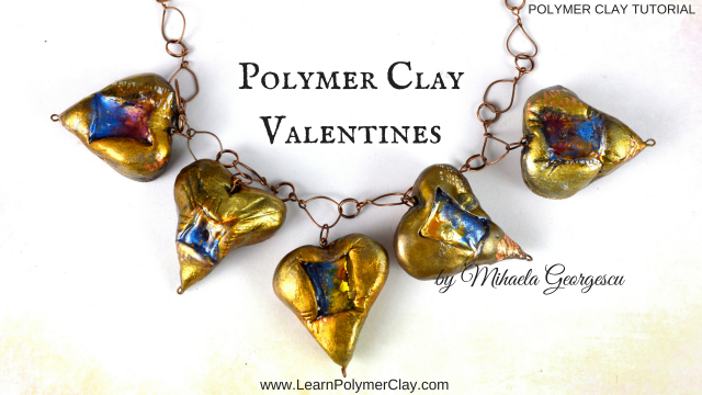Polymer clay valentines - inspiration to create hollow hearts and then paint them in beautiful shiny colors