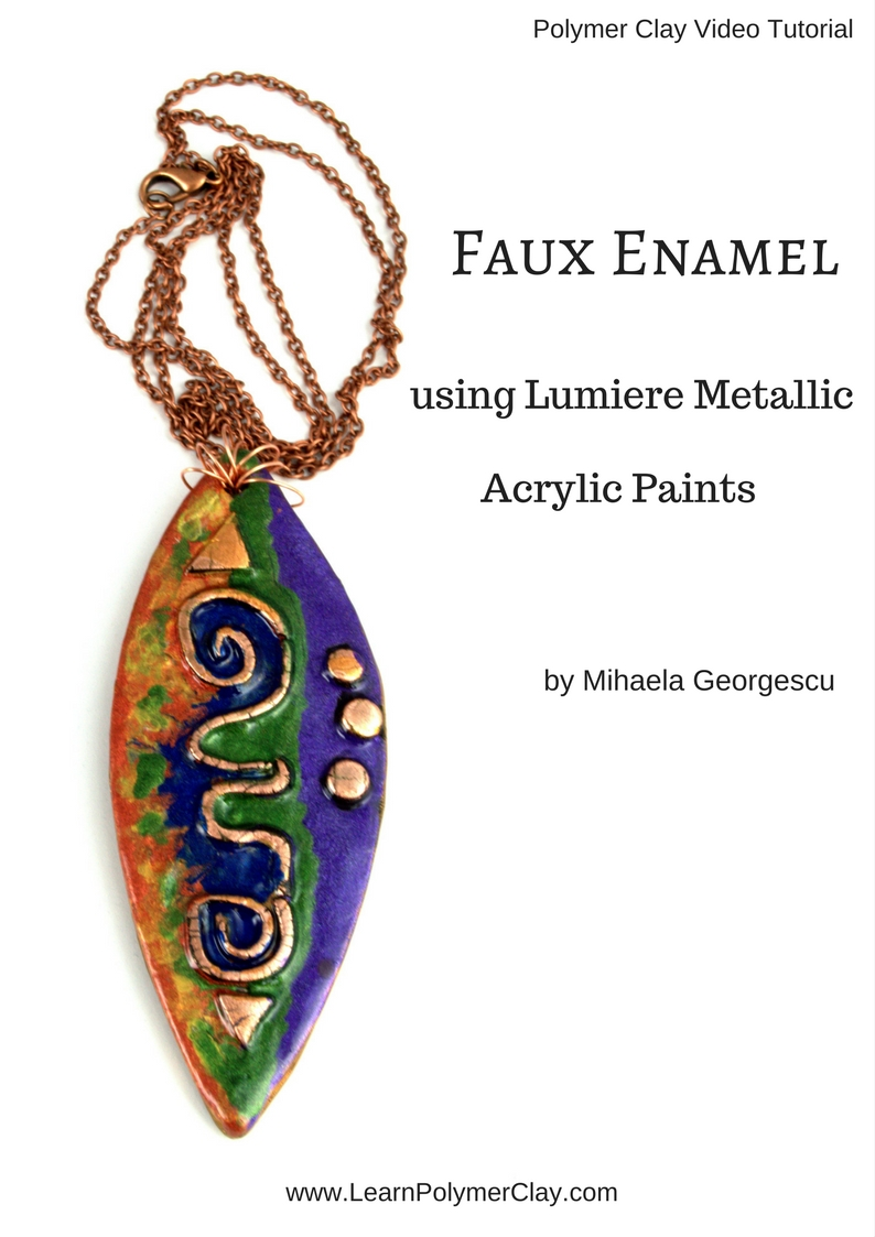 Achieving a faux enamel look using Lumiere Metallic Acrylic paints. Take this inspiration and use it to make beautiful polymer clay jewelry pieces