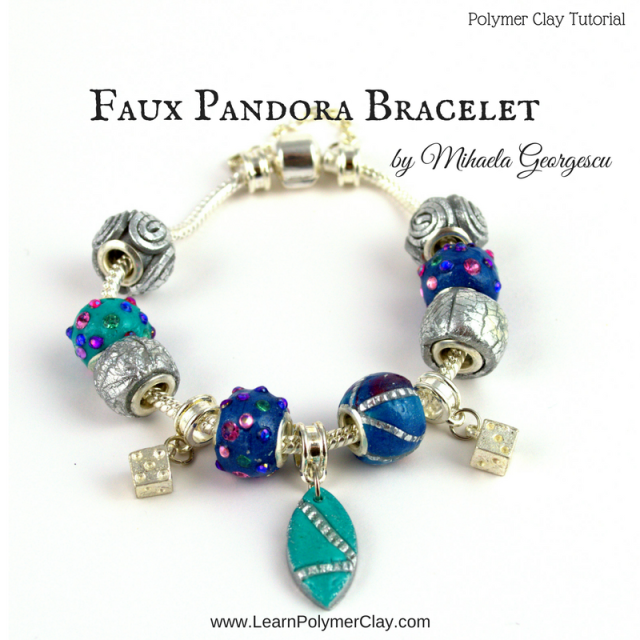 Faux Pandora Bracelet - Polymer Clay Tutorial - making Pandora-like beads using silver foil, rhinestones and polymer clay