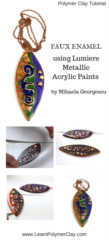 Faux Enamel effect using Lumiere Metallic Acrylic Paints - Polymer clay Video Tutorial