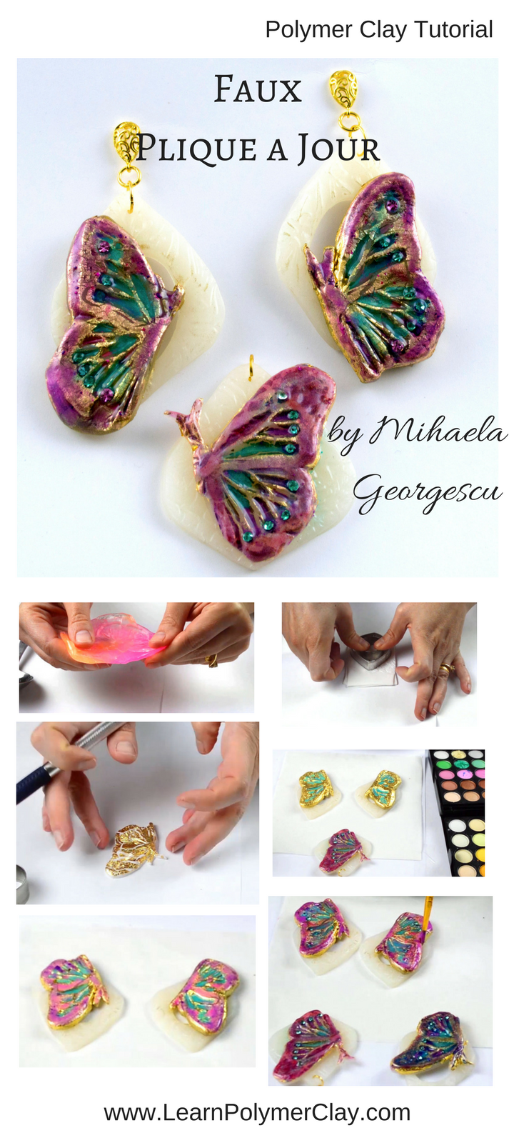 Explore the possibilities of painting onto polymer clay! Achieve a faux enamel look using eyeshadows, Triple Thick varnish and polymer clay! Take this inspiration and make amazing polymer clay jewelry pieces!