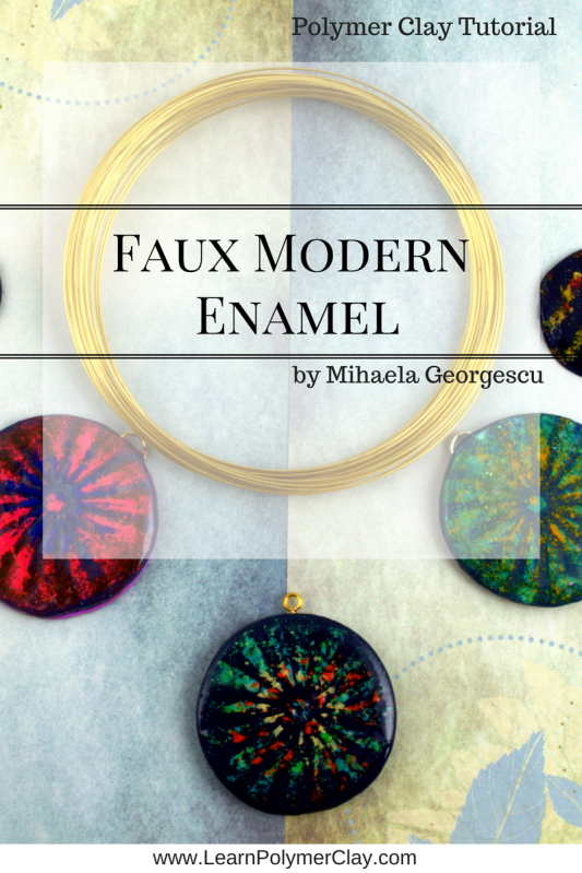 Faux Modern Enamel Polymer Clay Tutorial - Playing with chalk pastels, stencils and polymer clay to achieve a faux modern enamel look