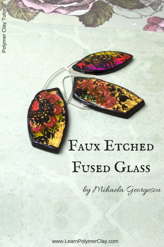 Faux Etched Fused Glass Polymer Clay Tutorial - using nail art transfer foils and Triple Thick Gloss Glaze to get the faux etched fused glass effect