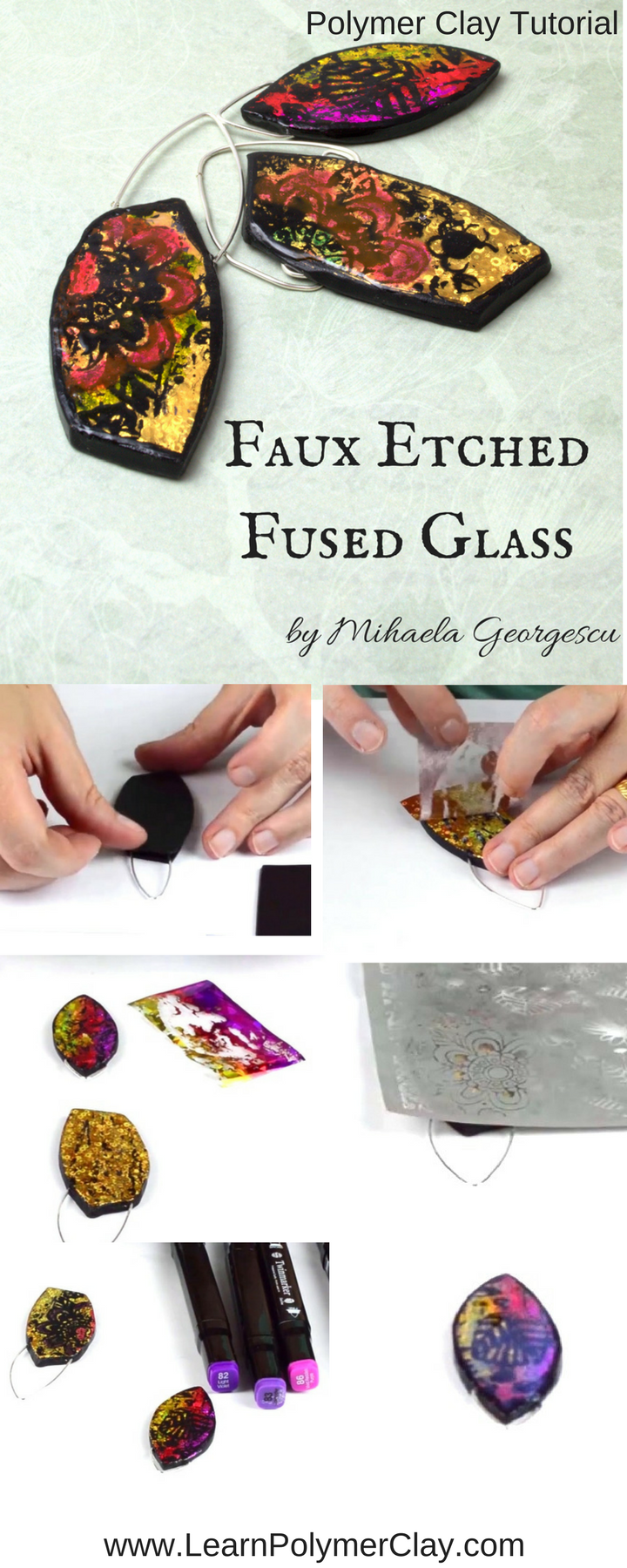 Faux Etched Glass Polymer Clay Tutorial
