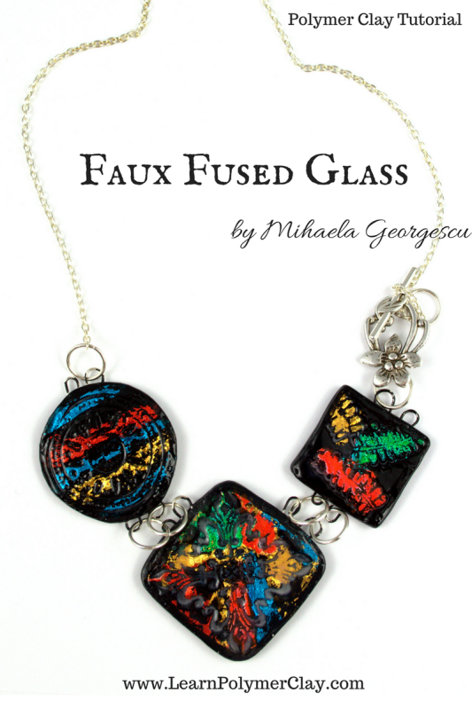 Faux Fused Glass Polymer clay tutorial - using nail art foils and Weldbond adhesive to decorate polymer clay