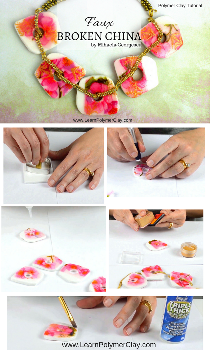 Faux Broken China polymer clay tutorial (decoupage on polymer clay, embossed pattern made with embossing powder and a heat gun)