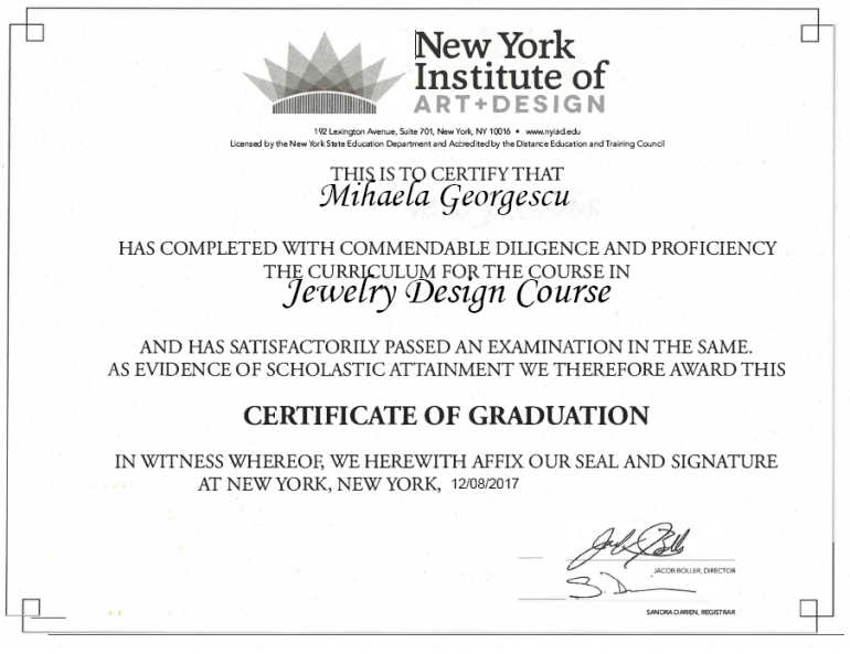 NYIAD Certificate