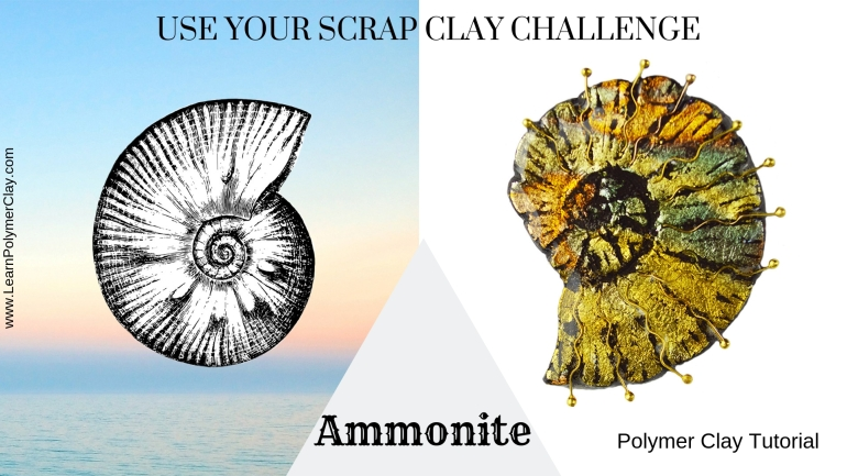 Ammonite polymer clay tutorial - Use your scrap clay challenge