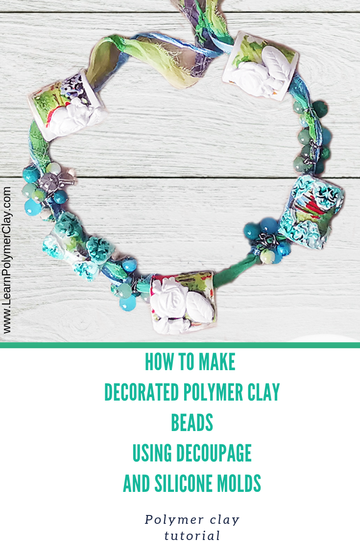 How to make decorated polymer clay beads using decoupage and molds - polymer clay video tutorial
